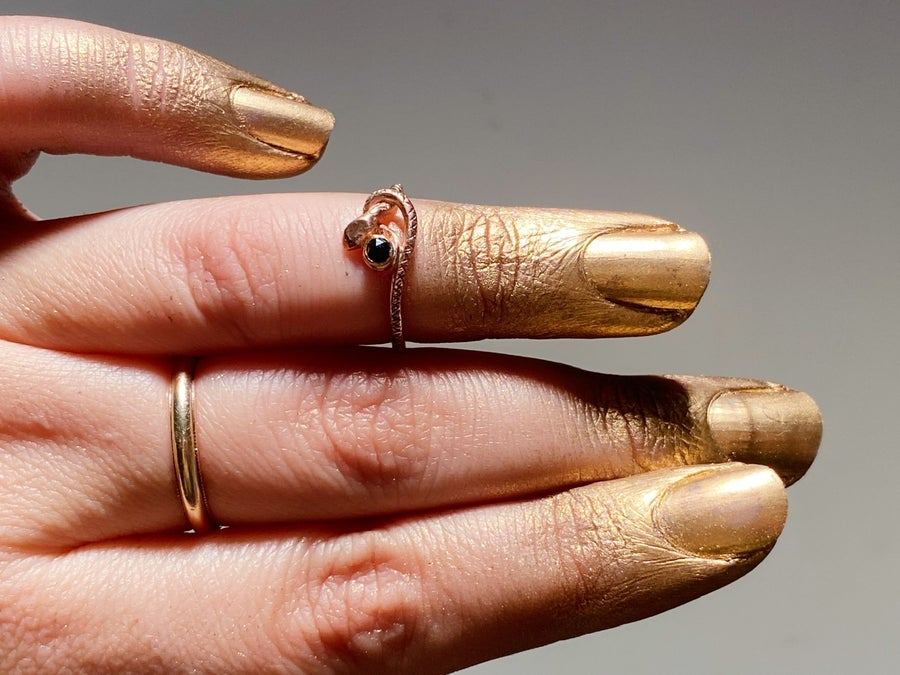 Image of Rose Gold & black diamond Snake ring size 6