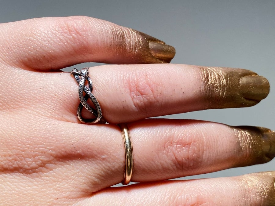 Image of Gold eyed snake ring size 8