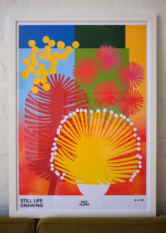Image of Framed Aus Flora Poster XL – white