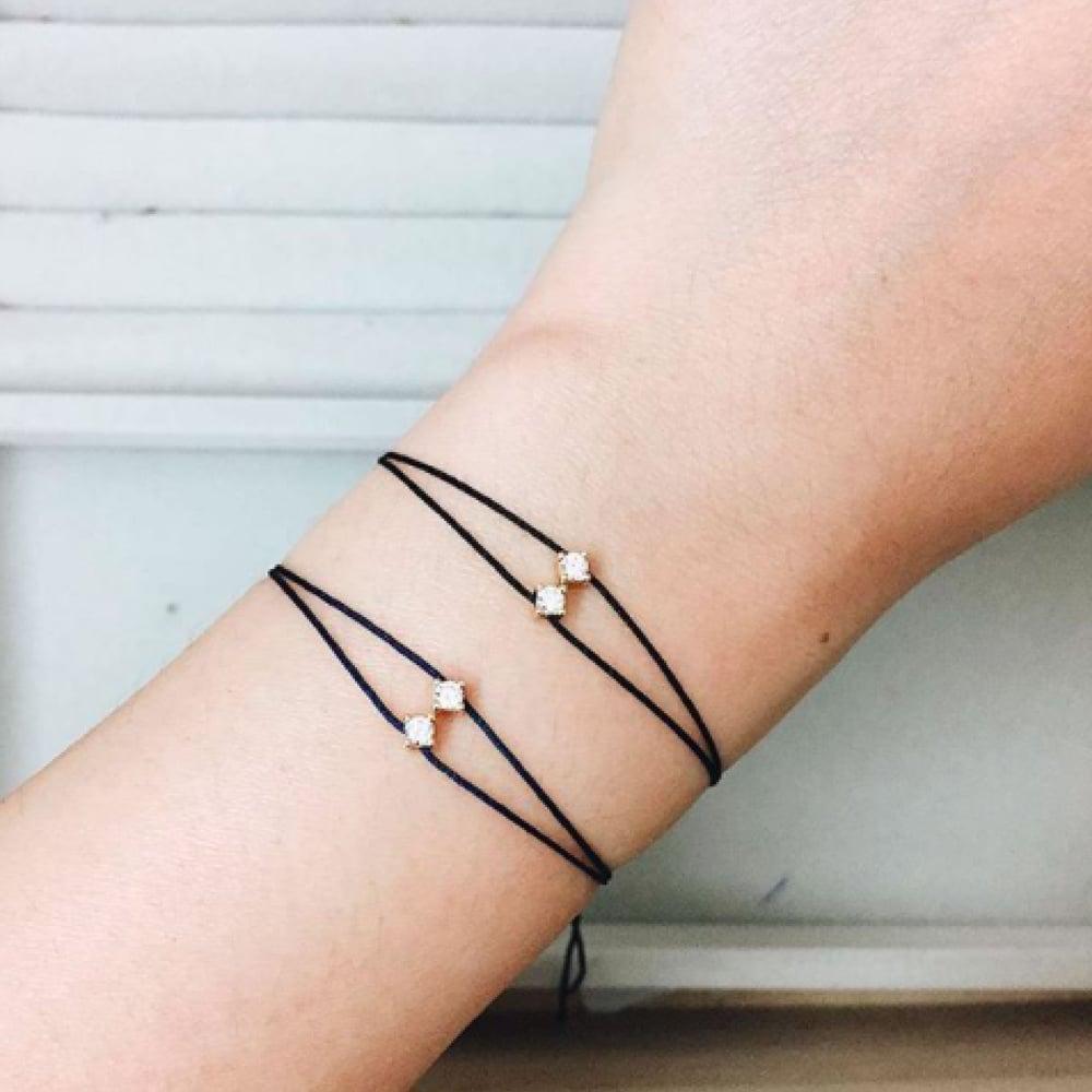 Image of BOX AND CROSS Twin Diamond and Half Chain bracelets