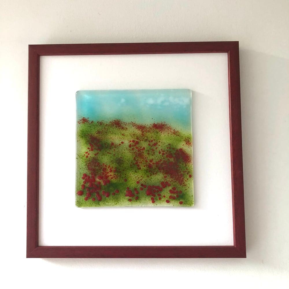 Image of Framed poppy field wall art