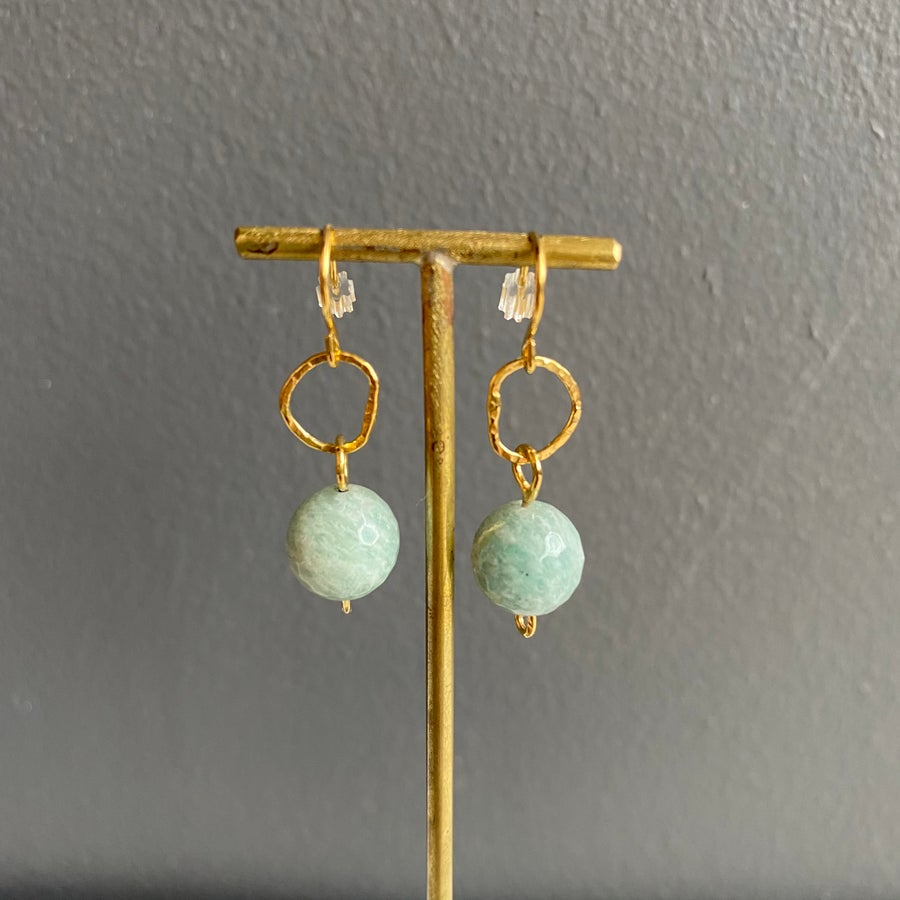 Image of Afiok beaded hook earrings- Amazonite