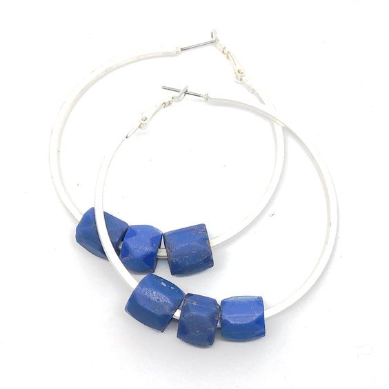 Image of Russian Blue Trade Bead Hoops