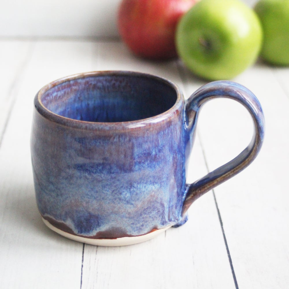 Image of Purple and White Mug, 10 oz. Handcrafted Stoneware Pottery Coffee Cup, Made in USA
