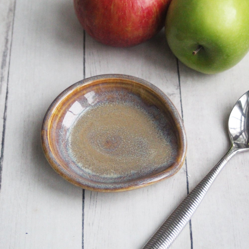 Image of Small Spoon Rest in Rustic Amber Glaze, Handmade Ceramic Spoon Holder, Made in USA