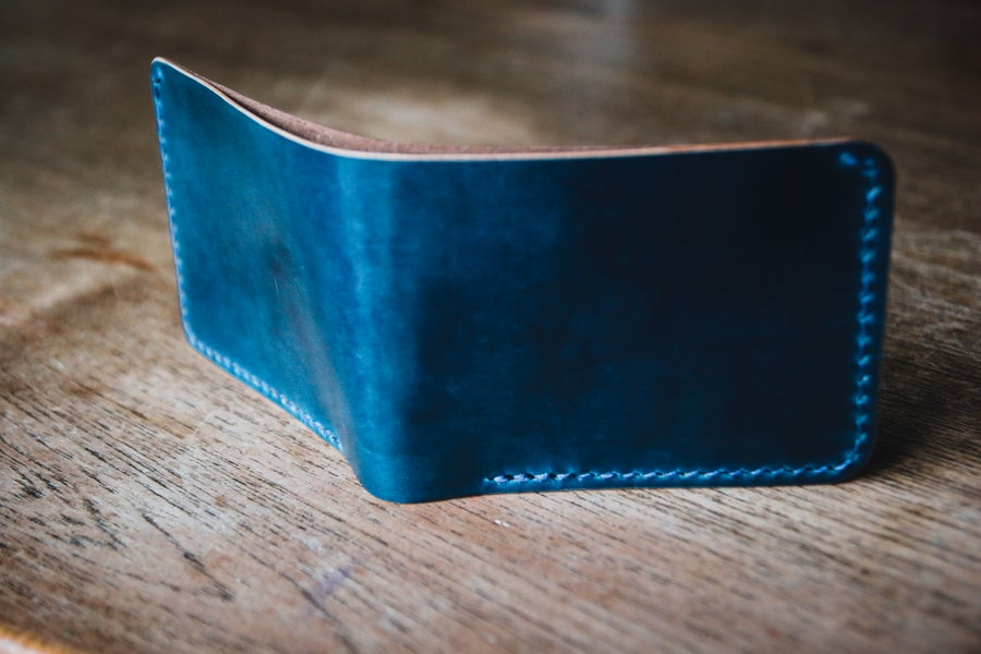 Image of Traditional Bifold in Horween Intense Blue Shell Cordovan