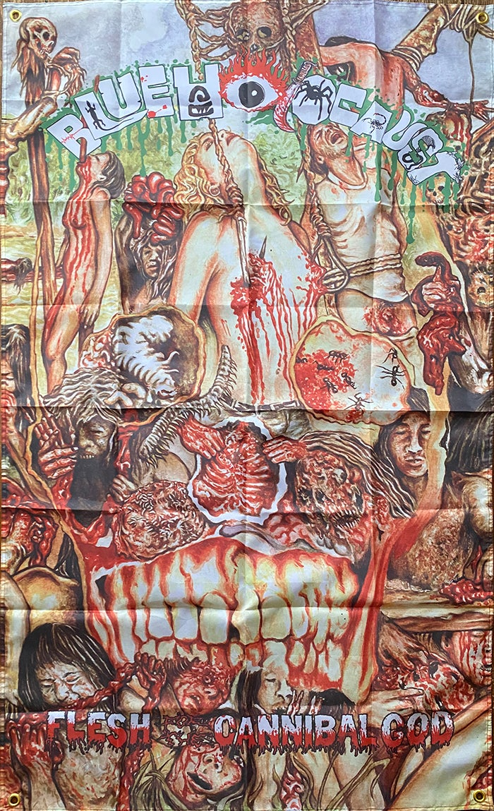 Image of Blue Holocaust - Flesh for the Cannibal God - Flag / Banner / Tapestry