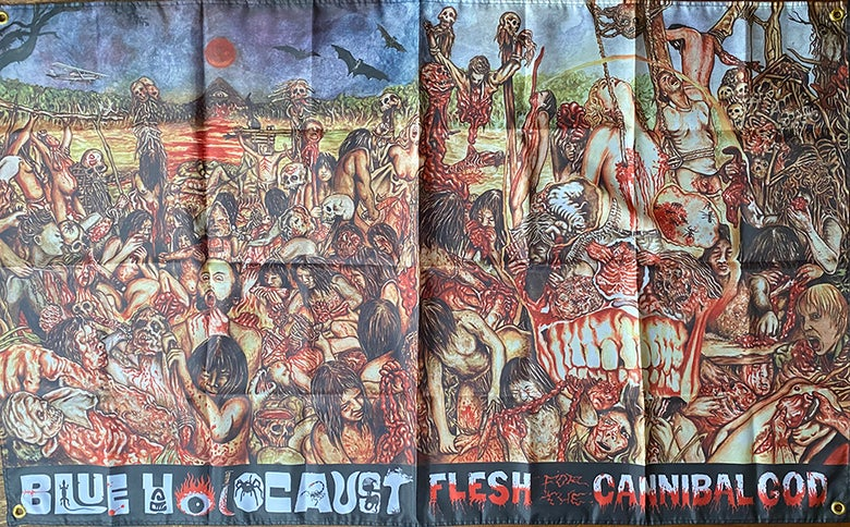 Image of Blue Holocaust - Flesh for the Cannibal God - Flag / Tapestry / Banner
