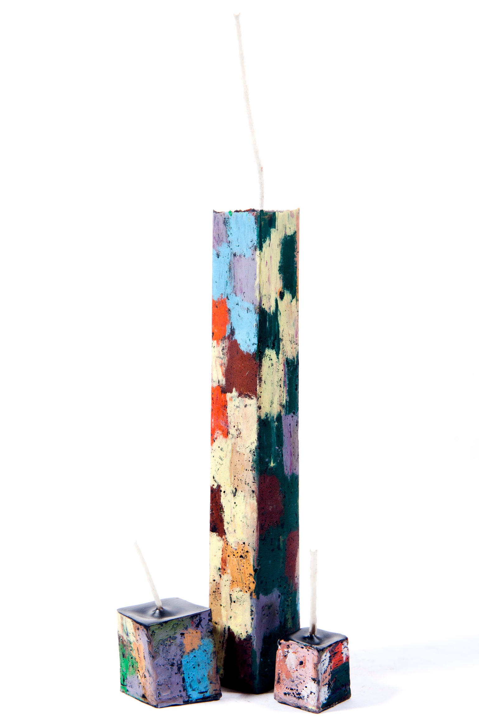 Image of Tall tower family in baby blue, orange, emerald, brown, lilac, soft yellow, grey, red, navy & white