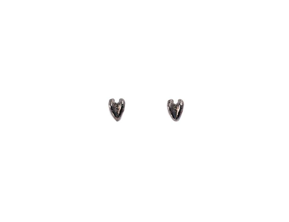 Image of Gunmetal Raccoon Heart Studs