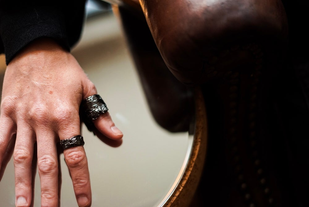 Image of Gunmetal Rugged Crown Ring