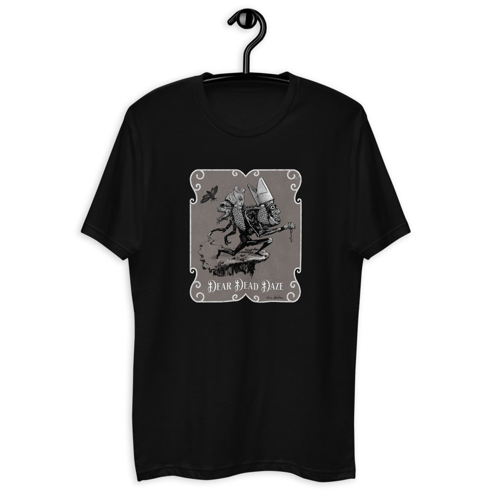 "Image of ""Fishy Pope"" (Black) Men's Fitted T-Shirt"