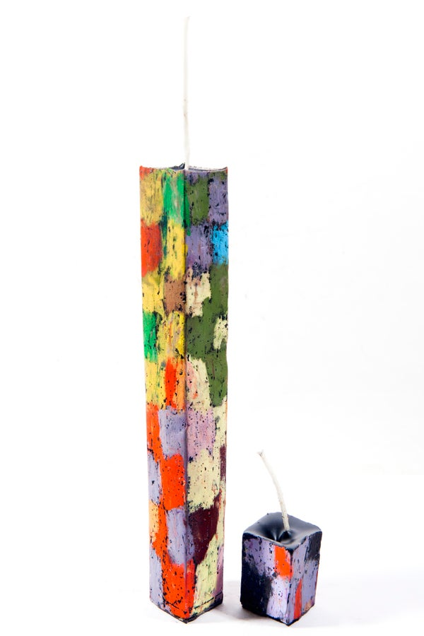 Image of Tall Tower Mother & Child in baby blue ,lilac, black, greens, yellows, aubergine, red & orange