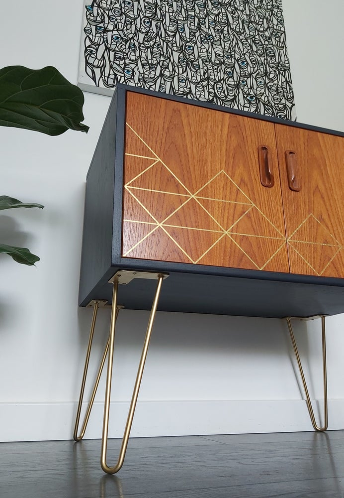 Image of •RESTYLED TO ORDER• G PLAN FRESCO COCKTAIL CABINET WITH METALLIC GEOMETRICS