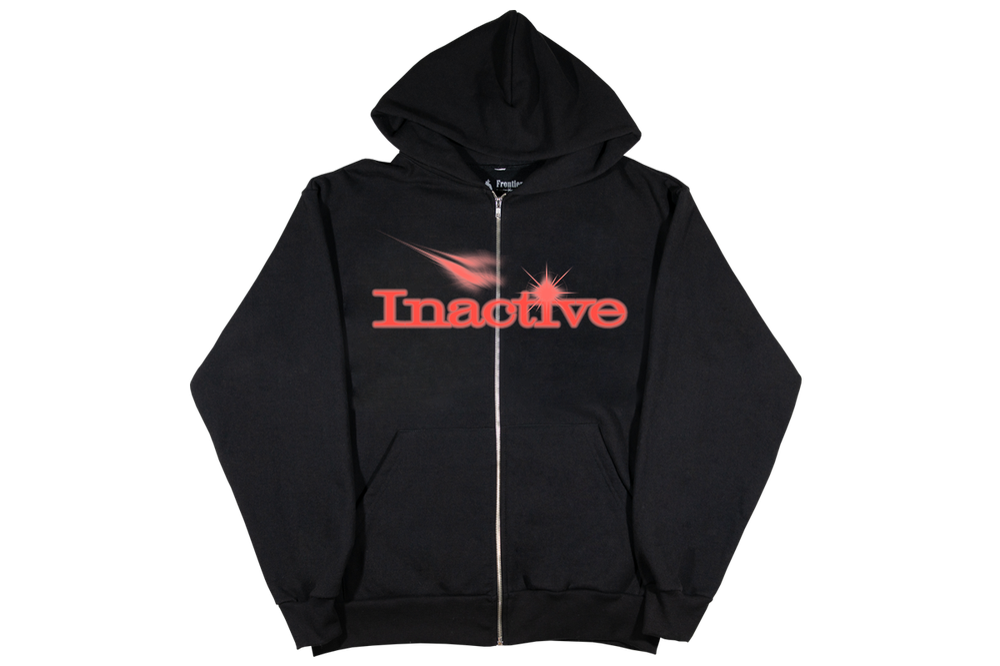 Image of Inactive Logo Zip Up Hoodie Black