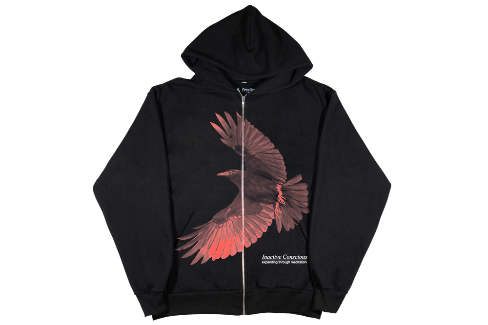Image of Inactive Crow Zip Up Hoodie Black