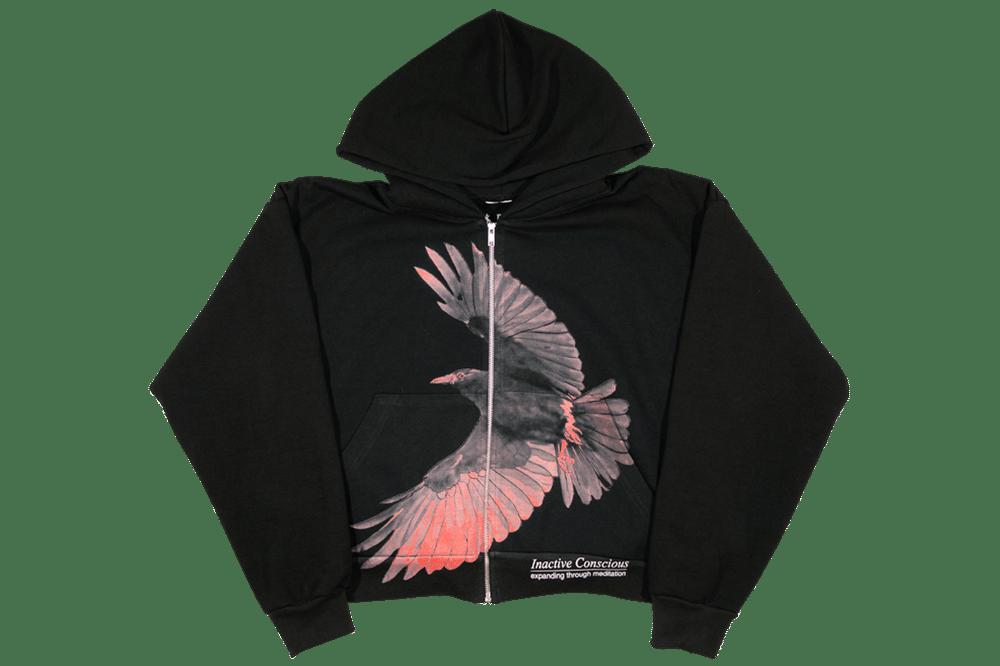Image of Inactive Crow Crop Zip Up Hoodie Black