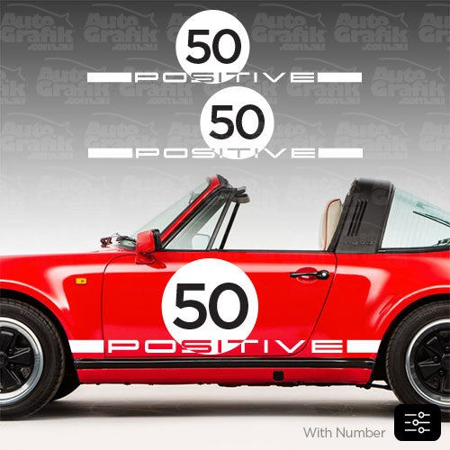 Image of POSITIVE HERITAGE TYPE SIDE SCRIPT + NUMBER DECAL SET - YOUR CUSTOM TEXT/NUMBERS