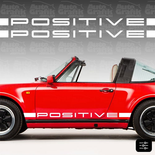 Image of POSITIVE HERITAGE TYPE SIDE SCRIPT DECAL SET - YOUR CUSTOM TEXT