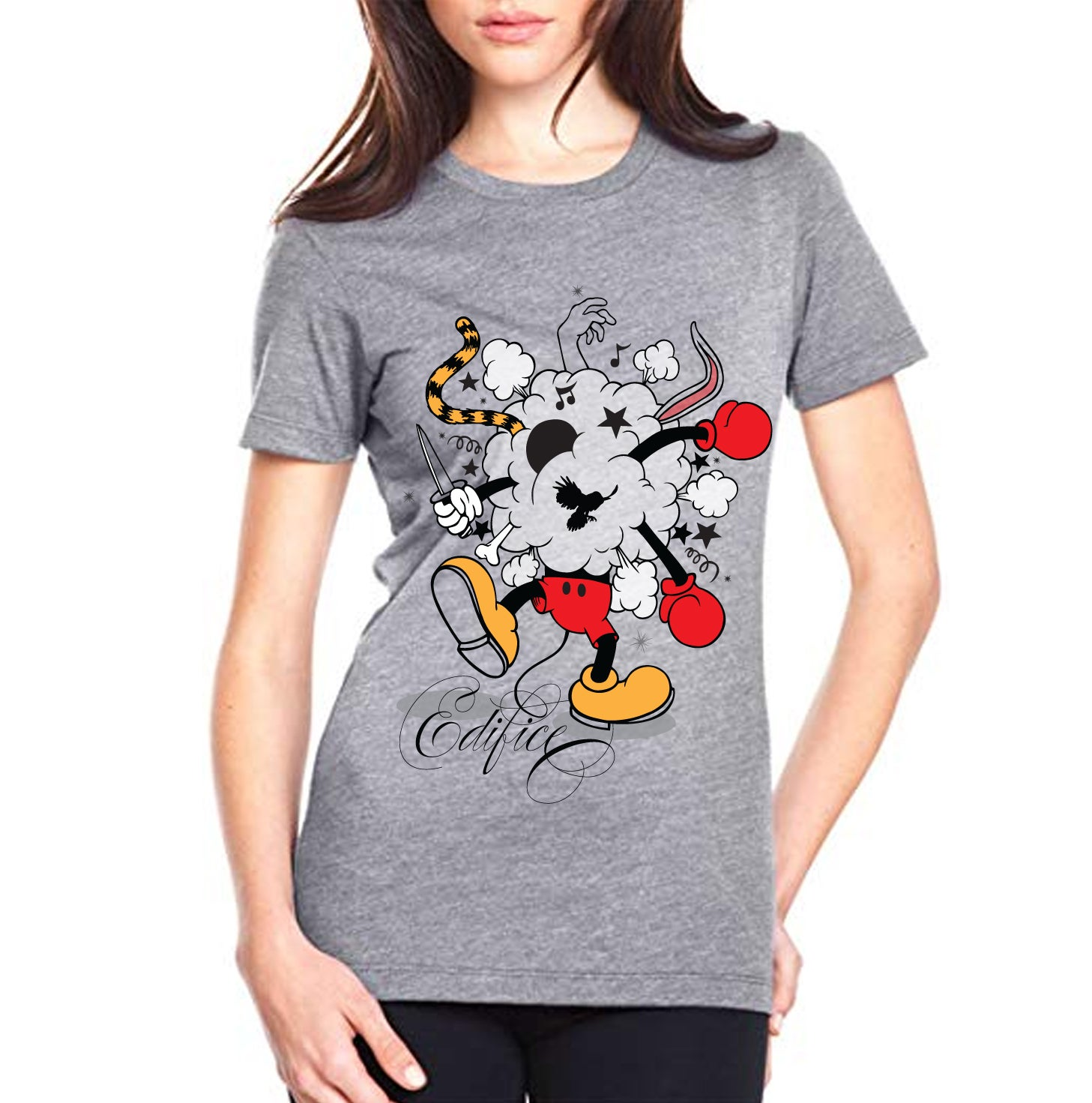 Image of EDIFICE CLOTHING BATTLE OF THE TOONS WOMANS 4 COLOR HAND PRINTED SHORT SLEEVE