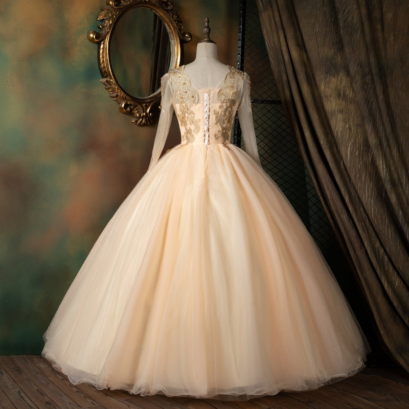 Pink Sweet 16 Long Sleeves Ball Gown Party Dress, Pearl Pink Formal Dress