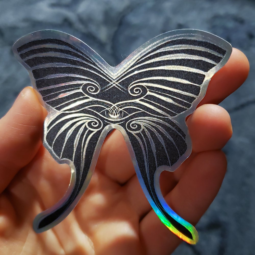 Image of holographic sticker: psEYEchedelic noir butterfly