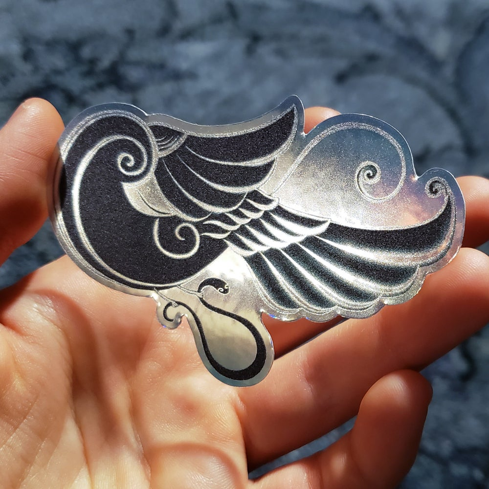 Image of holographic sticker: golden ratio inspired bird motif