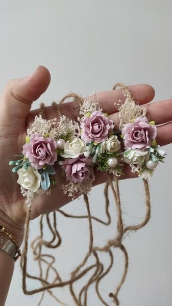 Image of Headband vieu rose sur corde