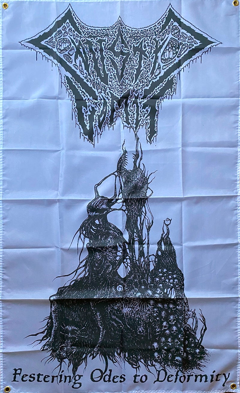 """Image of  Caustic Vomit """" Festering Odes To Deformity """" Flag / Banner / Tapestry"""