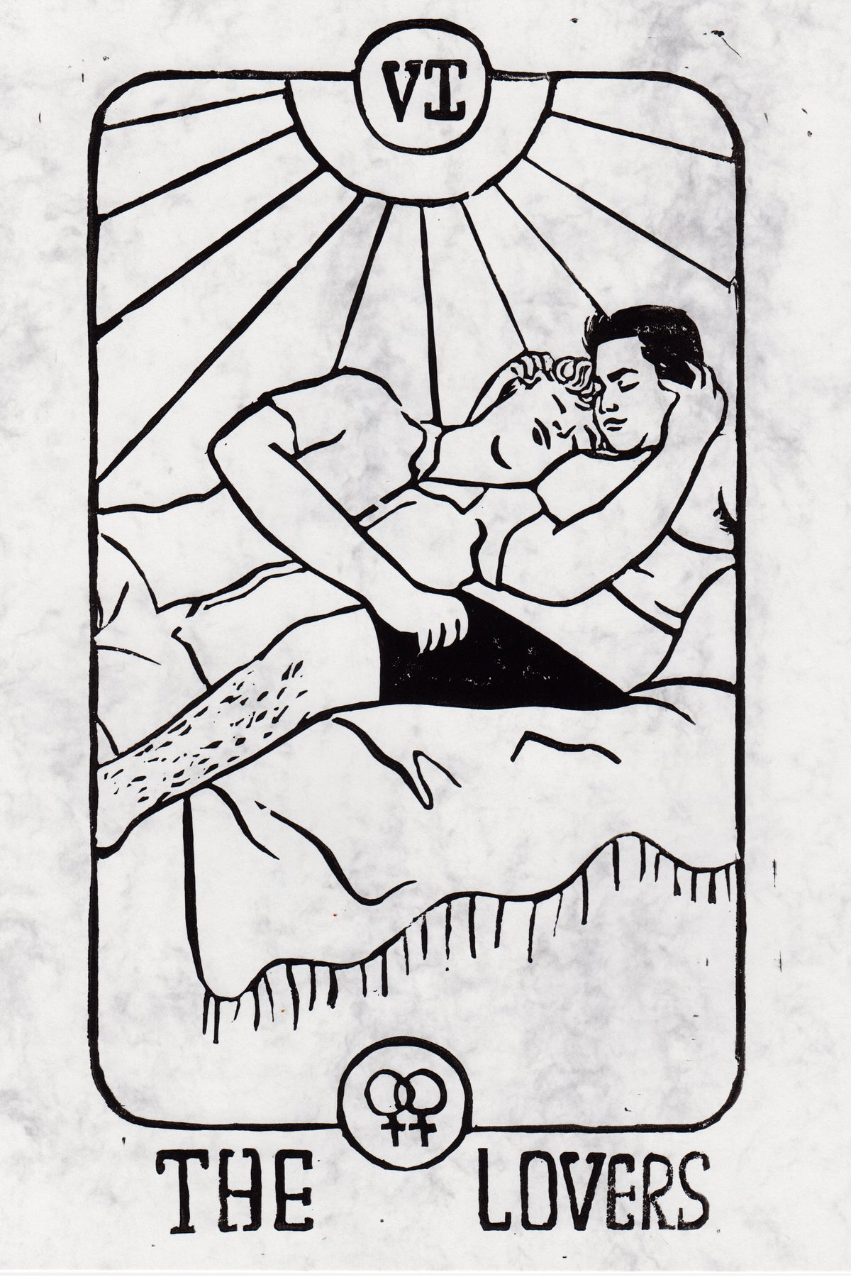 Image of The Lovers Lino Print