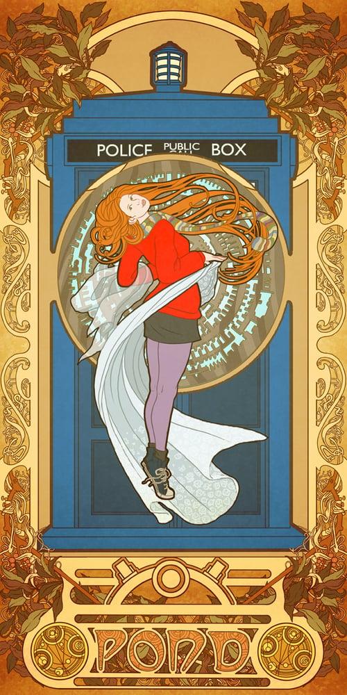 Image of Amy Pond by way of Alphonse Mucha