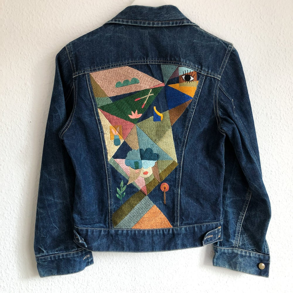 Image of We break too easily, 100+ hours of hand embroidery on a vintage denim jacket, one of a kind