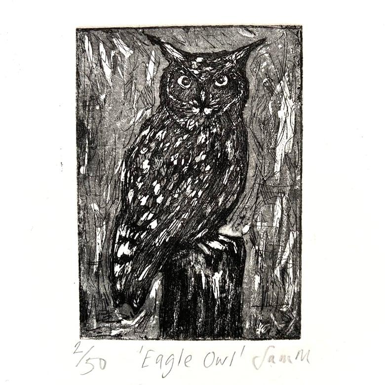 Image of Eagle Owl - etching