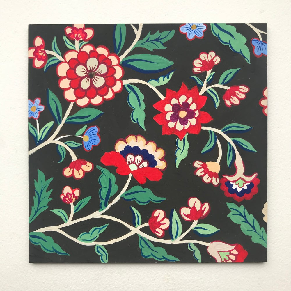 Image of Floral panel dark ground