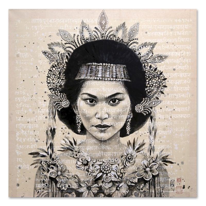"Image of Original drawing - ""Toraja Princess"" - 100x100 cm"