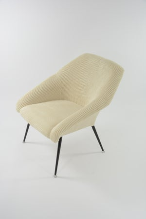 Image of Fauteuil Coquille velours ivoire