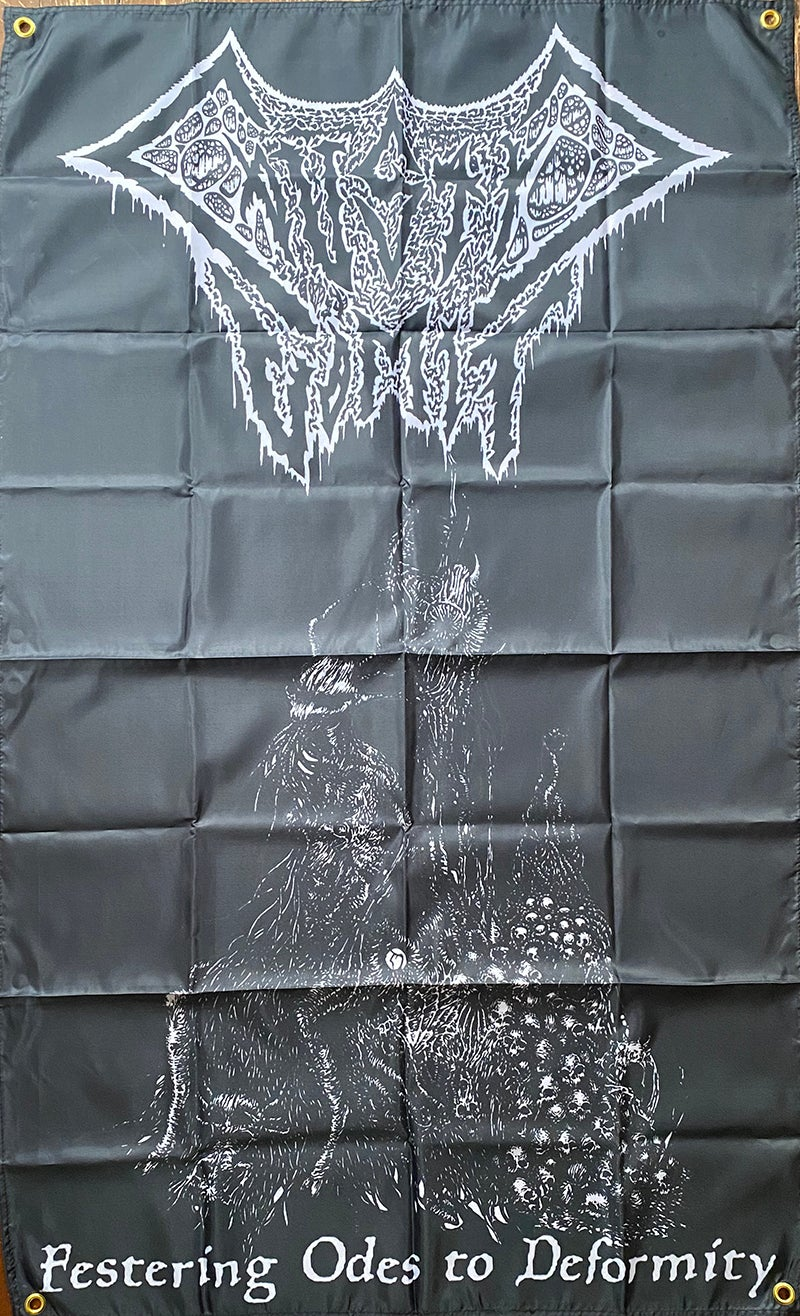 """Image of Caustic Vomit """" Festering Odes To Deformity """" Flag / Tapestry / Banner"""