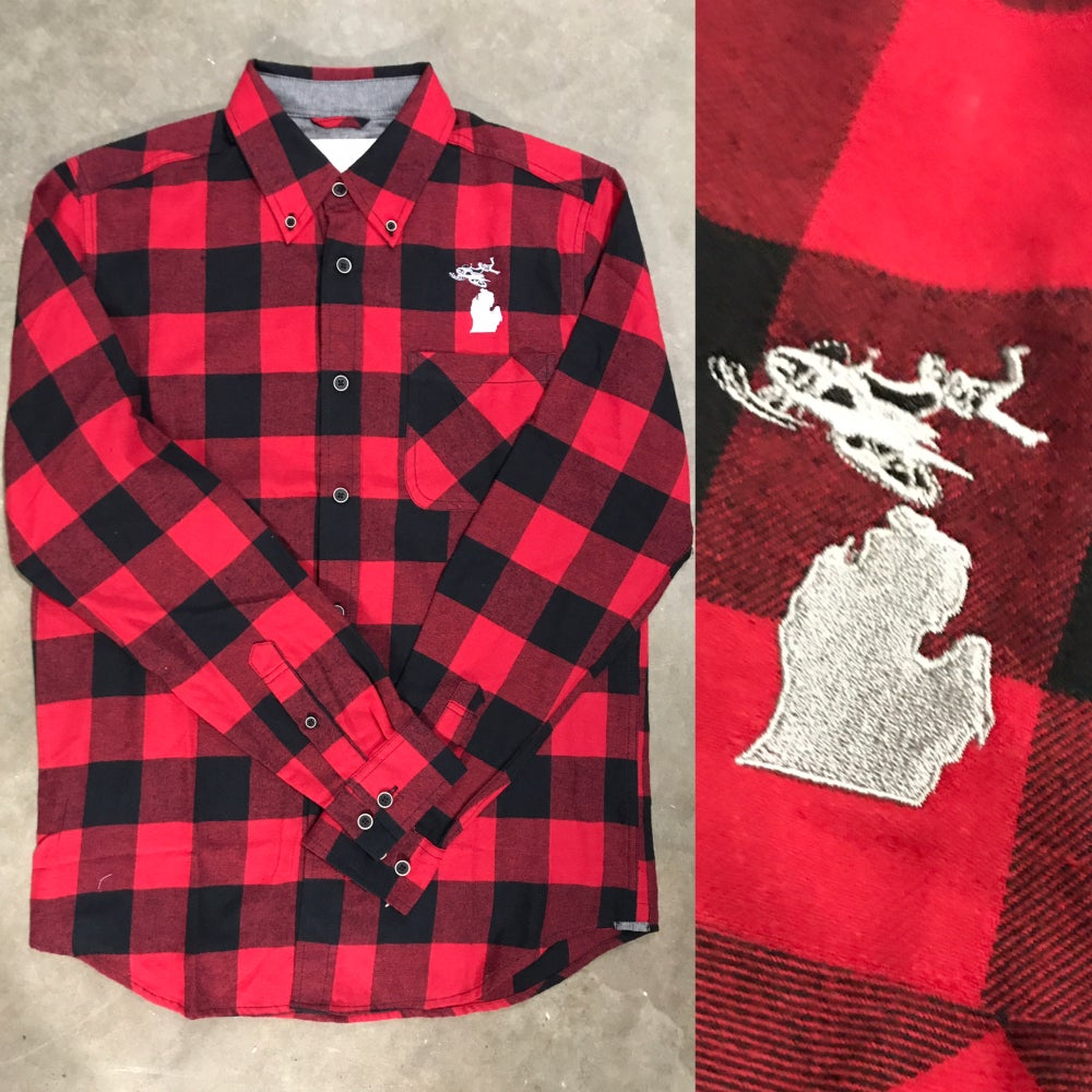 Image of Mens Michigan Sledheads Plaid Shirt