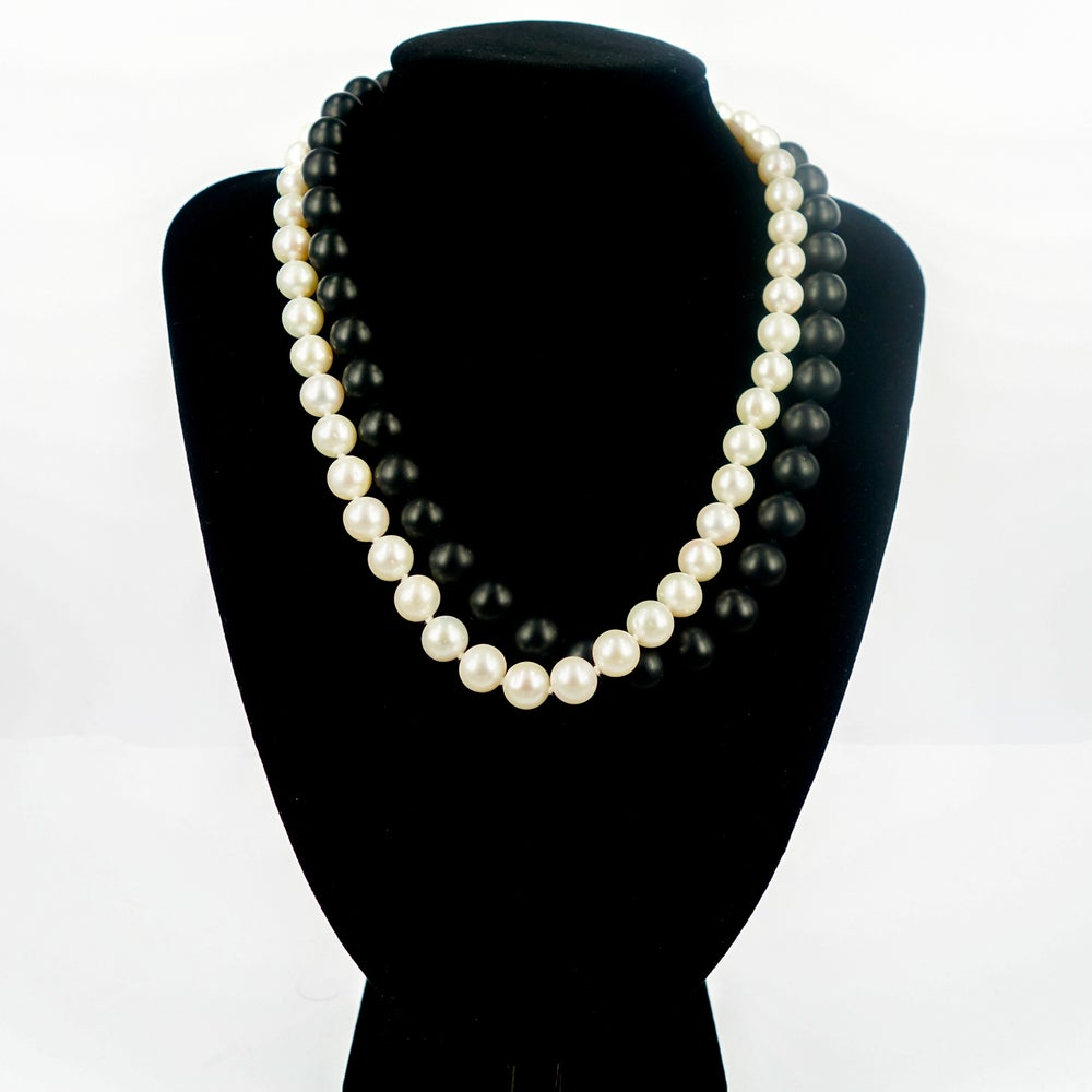 Image of Opera length two tone (natural colour) freshwater pearl necklace. SC1342