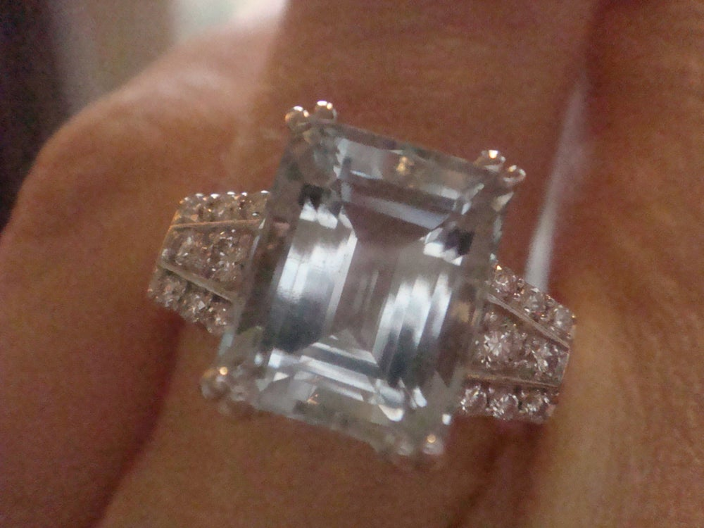 Image of 18ct white gold natural emerald cut aquamarine 3.74ct and diamond 0.22ct ring