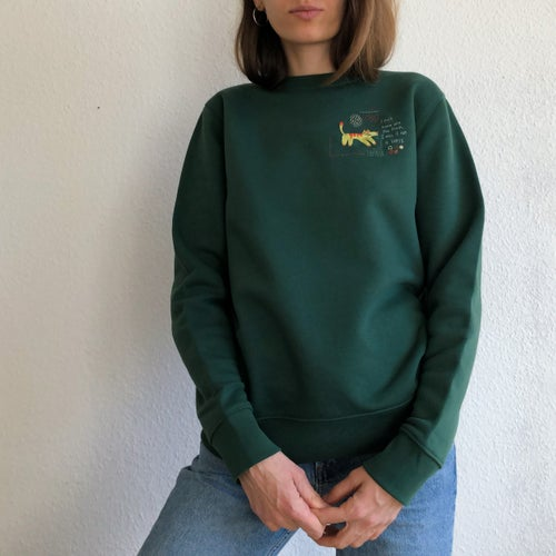 Image of Hybrid dog - a Bless - Hand embroidered organic cotton sweatshirt, unisex, available in ALL SIZES