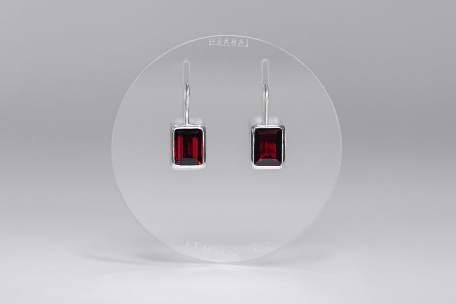 """Image of """"With love"""" silver earrings with garnets · CUM AMORE ·"""