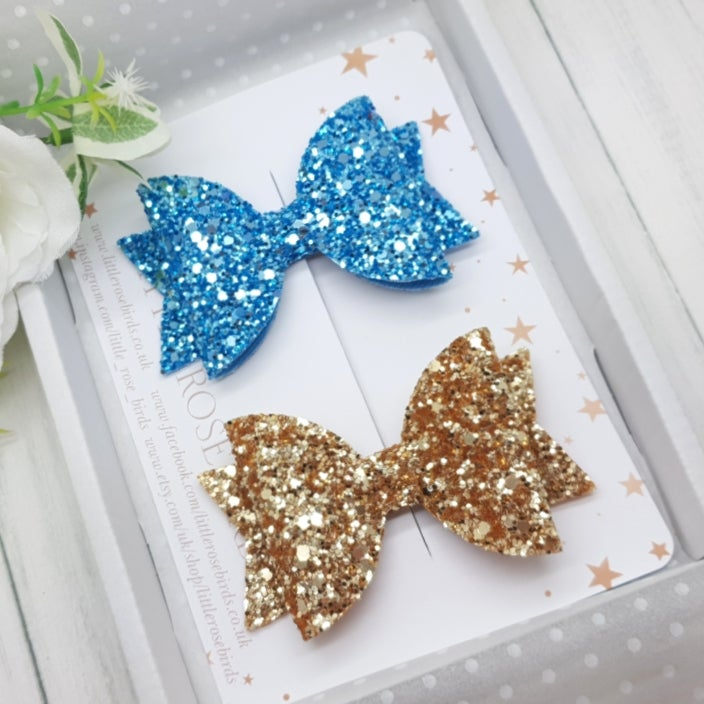 Image of Set of 2 Glitter Bows - Turquoise and Gold