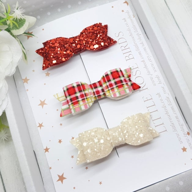 Image of Set of 3 Red / Tartan / Cream Bows