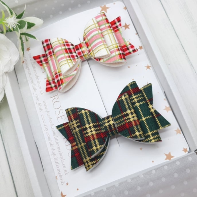 Image of Set of 2 Tartan Bows