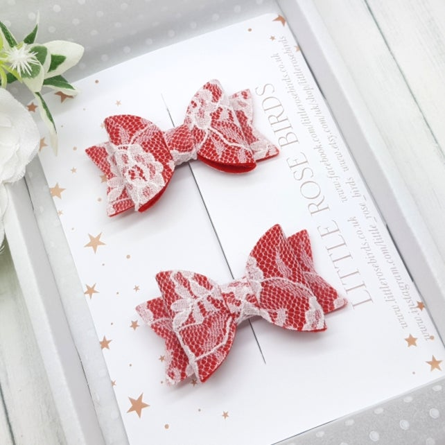 Image of Set of Red Lace Pigtail Bows