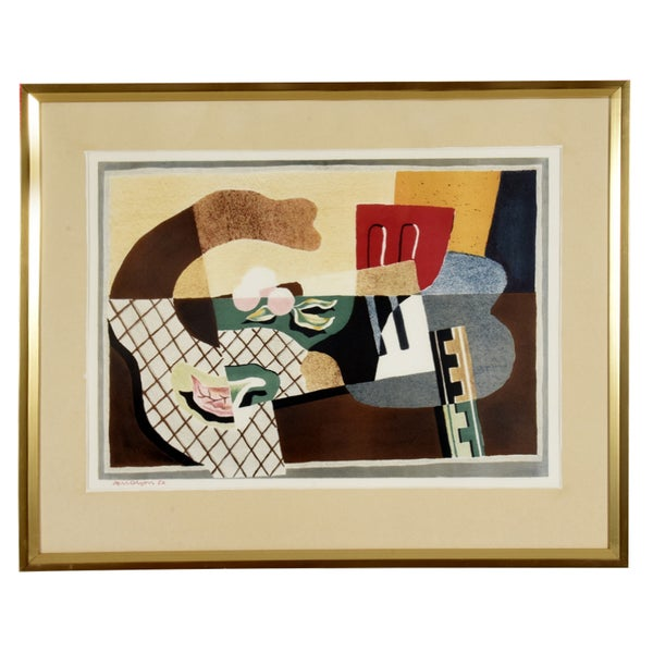 Image of 1932 , Swedish Lithograph, 'Still Life' Axel Olsen