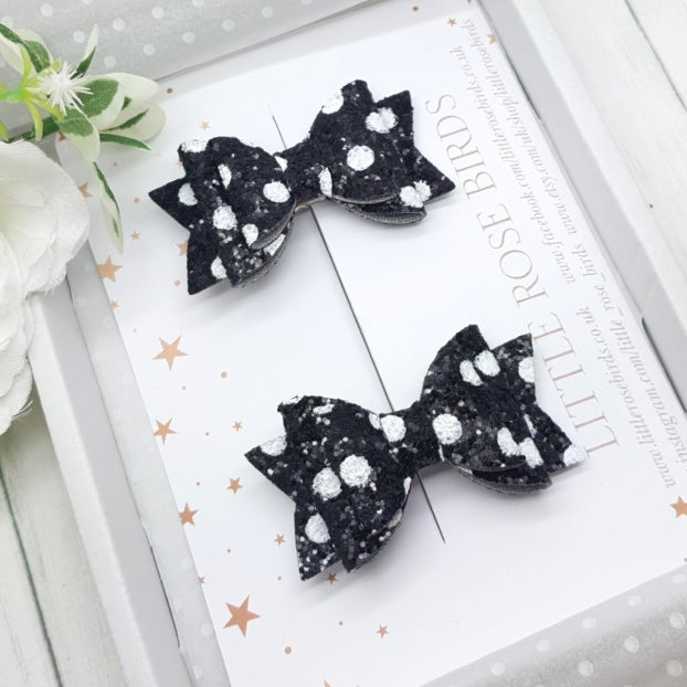 Image of Set of Black / White Polka Dot Pigtail Bows