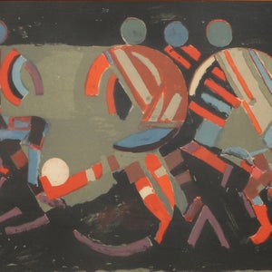 Image of Mid Century Swedish lithograph 'Football Match' Erland Melanton