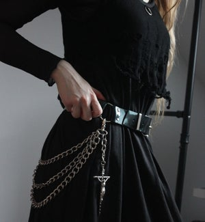 Image of CORONA BLACK PVC BELT WITH CHAINS AND CROSSES